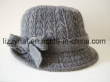 Fashion Wool Knitted Fedora Hat with Bow for Women