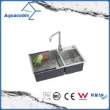 Man-Made Stainless Steel Small Double Kitchen Sink (ACS8243A2)