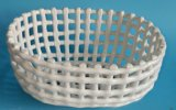 White Hollow out Slap-up Porcelain Vegetable and Fruit Water Filters Oval Basket