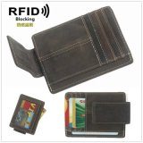Vintage Leather Credit Card Holder Slim Mini Wallet Magnet Money Clip Wallet