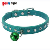 Dog Leather Collar Crystal Pet Product Bells PU Pet Collar