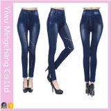 Seamless Cotton Denim Europe and America Hollow Solid Color Leggings