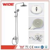Wide Chrome Plated 8 Inch Shower Head Faucet Bathroom Brass Rain Shower Column Set