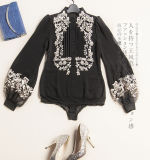 Customized Female Shirt Made of Silk Embroidery Fashion Clothing