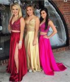 V-Neckline Formal Gowns Red Blue Fuchsia Beading Evening Dresses A987
