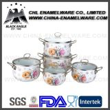 China Supplier 5PCS Flower Decal Enamel Cast Iron Cookware Set