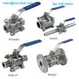3PC Stainless Steel Threaded Ball Valve with Handle