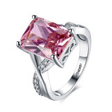 Wedding Ring for Women Platinum Pink Square Zircon Ring