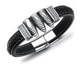 Fashion Vintage Black Leather Bracelet Three Fancy Bullets Design Bracelet Men Punk Wristband Magnet Male Charm Jewelry