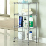 Home Used Adjustable 3 Tiers Chrome Metal Bathroom Shelf Rack