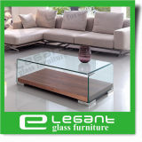 Simple Square Curved Glass Center Table with Mirror