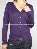 Women Knitted V Neck Cardigan with Buttons (12AW-249)