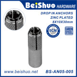 M8 Drop-in Sleeve Anchor, Carbon Steel, Zinc Plated Finish