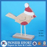 Wooden Bird with Red Hat for Top Table Decor