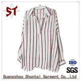 Wholesale Ladies Stripes Shirts Polo Collar Broad Blouse