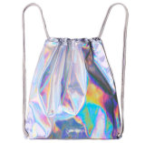 Silver Laser PU Drawstring Backpack, Seven Color Shading Laser Drawstring Bag