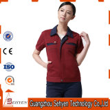 100% Cotton Red Staff Working Uniform with Short Sleeve