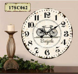 Vintage Decoration Antique Classic Bicycle Design MDF Wooden Print Paper Decal Wall Clock