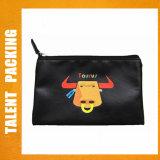 Custom Black PU Color Printing Leather Hand-Held Cosmetic Bag