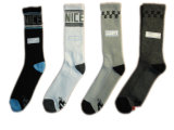 Men Plain Fashion Dress Socks with Cotton (mf-1)