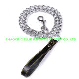 Chain Dog Leash/Dog Tie out Chain with Leather Handle