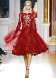 A-Line Long Sleeves Red Lace Bridal Wedding Party Dress E13117