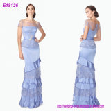 Blue Layered Lace Short Sleeves Princess Latest Wholesale Lady Evening Dress