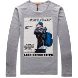 Cheap Personalized Knitted 100%Cotton Long Sleeve Men Print Tee Shirt