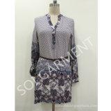 Rayon Print Long Sleeve Fashion Dress with PU Belt (DR-03)