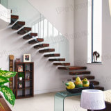 Prefabricated Stainless Steel Wood Staircases Stringer with Build Floating Glass Staircase
