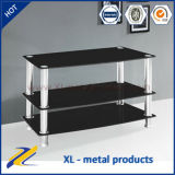 Modern Black Tempered 3 Shelf Glass TV Stand