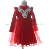 Fleece Lace Top Party Girl Special Occasion Winter Dress for Kids Clothes