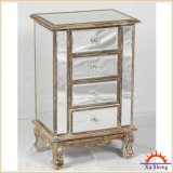 Classical Antique 4-Drawer Wooden Mirrored Chest for Storage