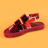 Newest Design PU Leather Buckle Strap Red Flat Espadrilles Sandals