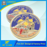 China Wholesale Customized Metal Crafts Gold Plated Soft Enamel Challenge Coins Military Award Honor Medal Souvenir Coin Badge with Logo Design (CO25)