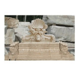 Beige Marble Child Statues Stone Water Wall Fountain for Garden
