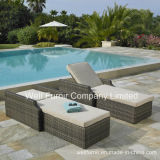 2-Pk Hampton Rattan Chaise Lounge / Wicker Sun Lounger