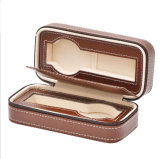 Wholesale Portable Storage Mens PU Leather Travel Watch Box, PU Leather 2 Slots Zipper Lovers Watch Bag/Box, Classic 2-Slots Portable Watch Storage Bag