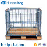 Storage Stackable Folding Durable Metal Pallet Cage with Wooden Pallet