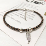 Trendy Leather Bracelet Diamond Wings Pendant Bracelets for Women