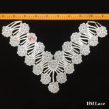 47cm Width High Quality Bridal Polyester Chemical Collar Lace Trim for Lady Wear Apparel Hml8605 Flower V Shape