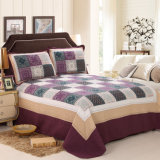Washable Quilts Plaid 100% Cotton Purple Bedding Set