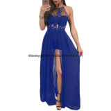 Women′s Sexy Deep V Neck Backless Split Maxi Party Dress Esg10258