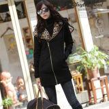 OEM Service Cheap Women Coat Black 100% Polyester Jacket (50216)
