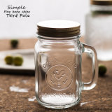 Hot Sell Transparent 16oz Glass Mason Mug with Metal Lid and Straw