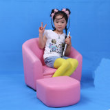 Fashion Children Furniture Kids Round Back Sofa with Ottoman (SF-12)