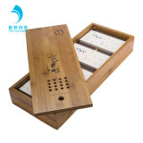 Engrave Logo Chamshell Wooden Tea Packaging Box with Four Tray Custom