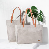 Wholesale Recycle Kraft Paper Shaopping Bag with Handle, Custom Kraft Paper Tote Bag for Shopping