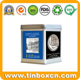 Square Tin Tea Caddy for Tea Tin Box Packaging