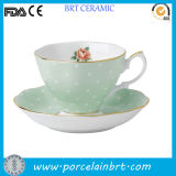 Gold Rim Rose Vintage Ceramic Tea Cup with Saucer